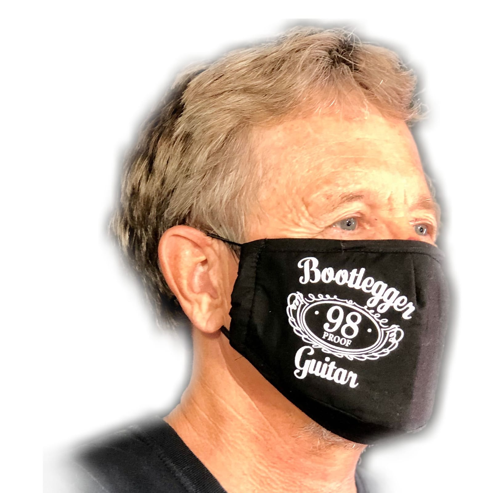 Bootlegger Guitar Cover Face  2020 Black Mask, Face Cover, Bandanna
