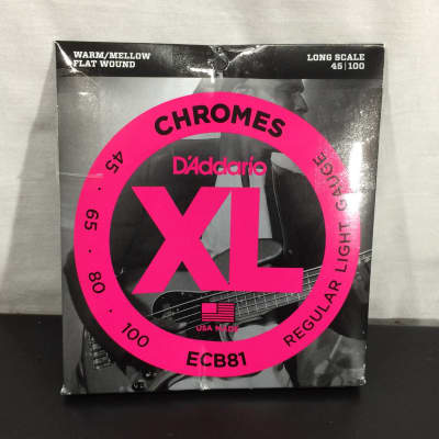 D'Addario ECB81 XL Chromes Flatwound Long Scale Bass Guitar Strings, Light Gauge - Customer Return