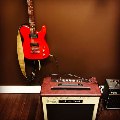 Union Jack Autographed Mike McReady Amp from Flight to Mars Tour + Mike McReady's Mike Lull Guitar Custom Everything 2014uun Mahogany in Orange Stain for sale