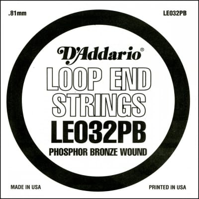 D'Addario LE032PB Phosphor Bronze .032 Loop End Wound String