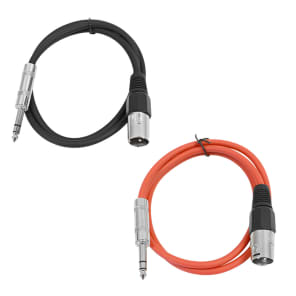 """Seismic Audio SATRXL-M2-BLACKRED 1/4"""" TRS Male to XLR Male Patch Cables - 2' (2-Pack)"""