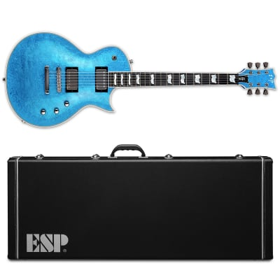 ESP Eclipse Custom Blue Liquid Metal Electric Guitar + Hard Case MIJ for sale
