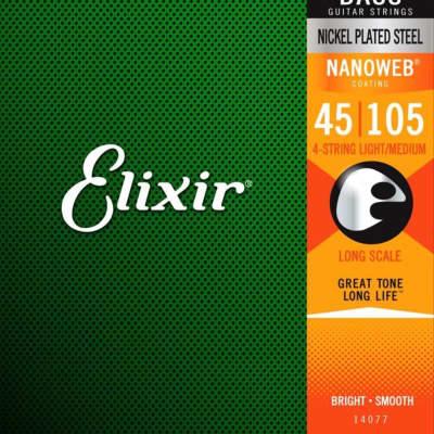 Elixir Strings 14077 E Bass Nickel Plated Steel w/NANOWEB Coating, Light/Medium