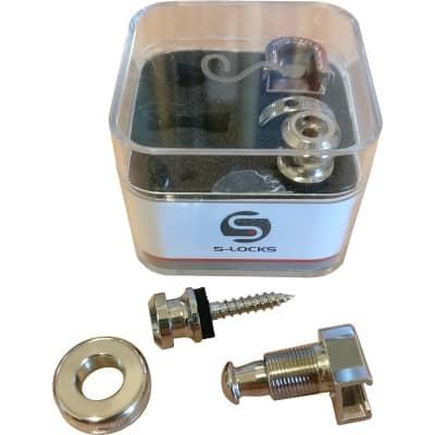Schaller 14010101 S-Lock Strap Locks, Nickel, 2 Pack for sale