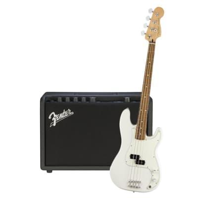 Fender Player Precision Bass Polar White Pau Ferro & Fender Rumble 25 Bundle for sale