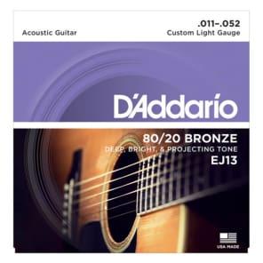 D'Addario EJ13 Acoustic Guitar Strings 80/20 Bronze Custom Light 11-52
