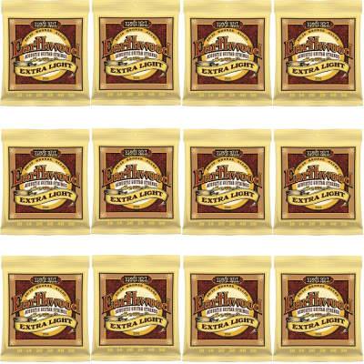 12-Pack Ernie Ball 2006 Earthwood 80/20 Bronze Extra Light Acoustic Guitar Strings (10-50)