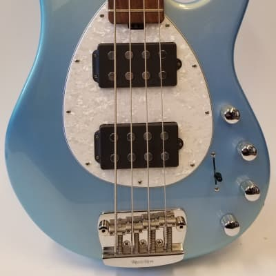 Music Man 2014 Sterling HH Electric Bass Guitar, Sky Blue, Matching Headstock, White Pearl Pickguard, RW FB for sale
