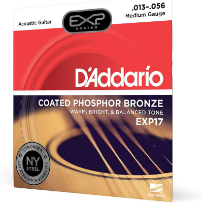 D'Addario EXP17 EXP Coated Phosphor Bronze Wound Medium 13-56 Acoustic Guitar Strings