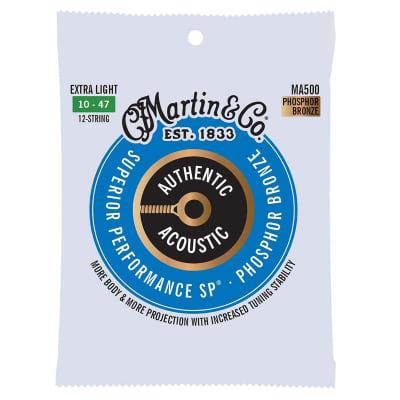 Martin Strings MA500 Phosphor Bronze Acoustic Guitar Strings 12 String Light 10-47 for sale