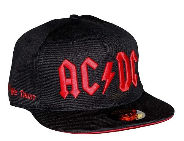 AC DC Red Logo Flat Bill Snapback Hat  ff78254597c