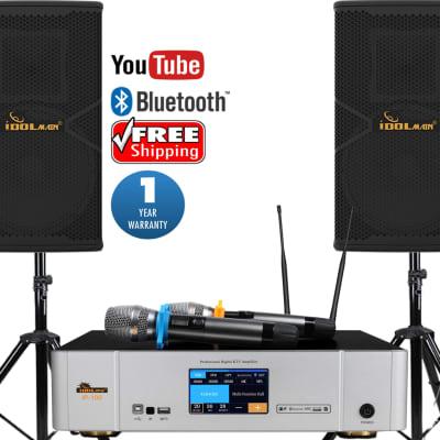 IDOLpro 1500W Loud Speakers W/  3000W Professional Digital Amplifier and Dual  Wireless Microphones