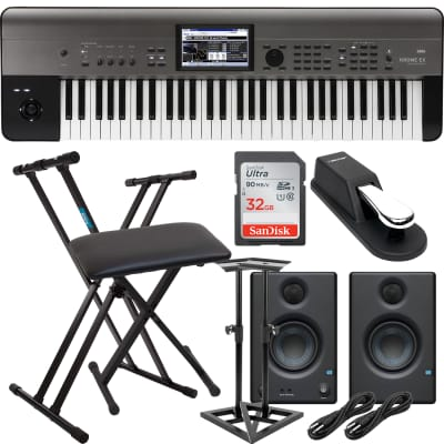 Korg Krome EX 61 – Music Workstation, Keyboard Stand, Bench, Presonus Eris3.5, Monitor Stands, Sustain Pedal, (2) 1/4 Cables, SD Card 32GB Bundle
