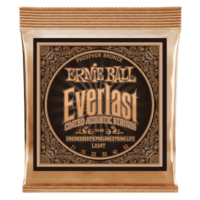 Ernie Ball 2548 Everlast Coated Light Acoustic Guitar Strings, .011 - .052