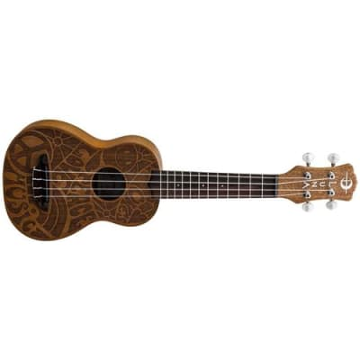 Luna Uke Mah Soprano Etched 60s Design Acoustic Ukulele, 12 Frets, C Shape Neck, Rosewood Fingerboard, Satin Natural