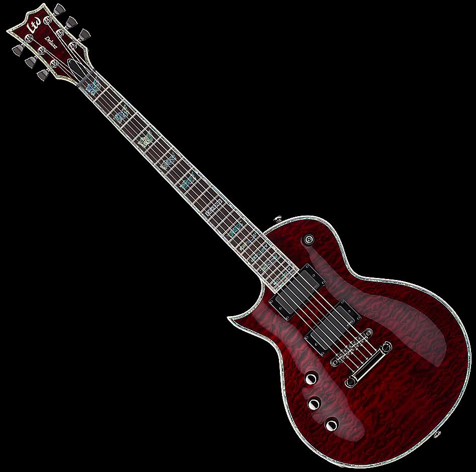 Esp ltd ec 1000 qm lh left handed see thru black cherry for Motor city guitar waterford