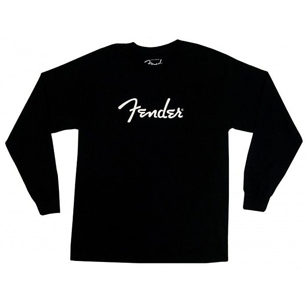 422b6d357657 Genuine Fender Spaghetti Logo Long Sleeve Black T-Shirt 100%