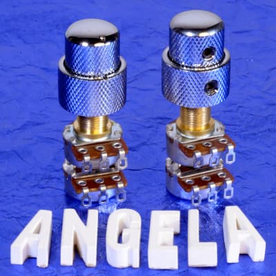 More Two Generic 250K/250K Audio Taper Concentric Solid Shaft Volume / Tone Potentiometers & Knobs