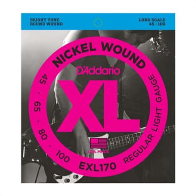 D'Addario EXL170 XL Nickel Wound Electric Bass Guitar Strings 45-100