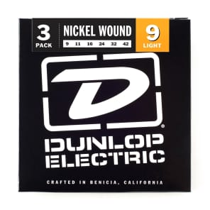 Dunlop 3PDEN0942 Nickel-Plated Steel Electric Guitar Stings - Light (9-42) 3-Pack