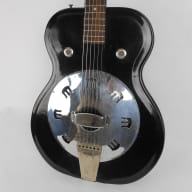 Airline Folkstar 1964 Black Res-O-Glass - Supro National Valco Resonator Dobro with chipboard case for sale