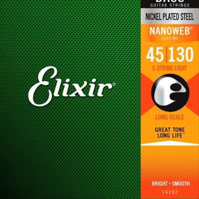Elixir Strings 14202 E Bass Nickel Plated Steel w/NANOWEB Coating, 5-Str Light