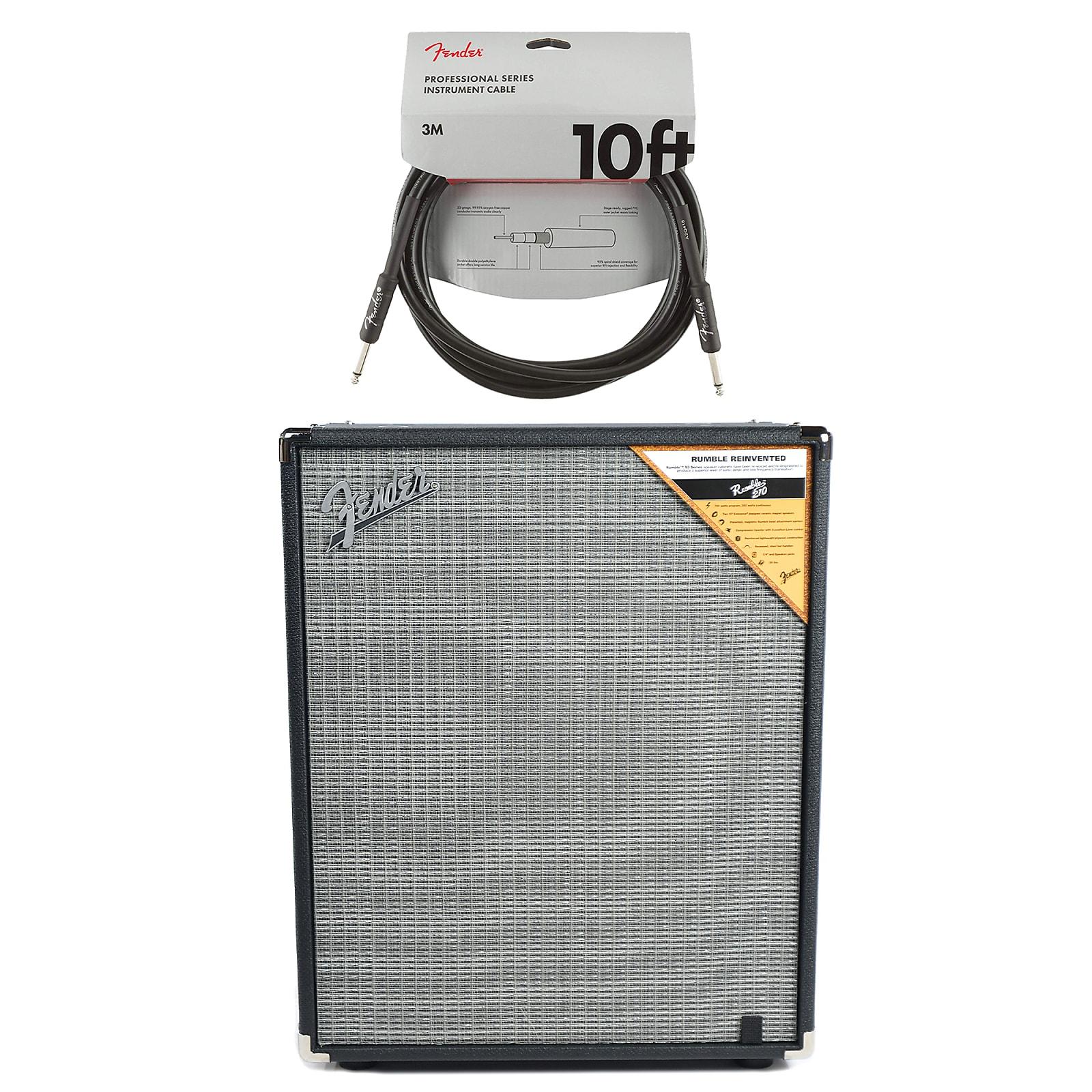 Fender Rumble 2x10 Cabinet Black/Silver Cable Bundle