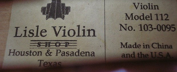 Lisle Violin Shop 4/4 Violin Model 112