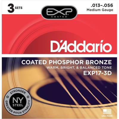 Daddario EXP17 Coated Phosphor Acoustic Guitar Strings - Medium - 13-56 - 3 Sets