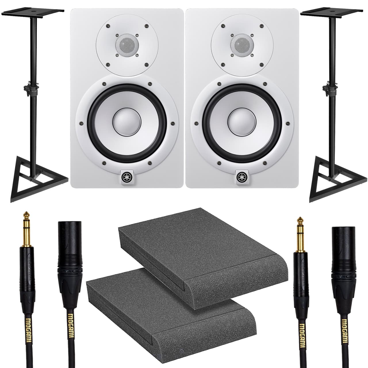 yamaha hs7 white studio monitor pair with stands. Black Bedroom Furniture Sets. Home Design Ideas