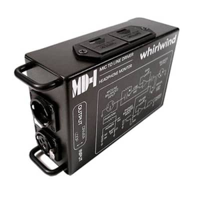 Whirlwind MD-1 Mic to Line Driver with Headphone Monitor, 600Ohms Output Impedance, 6Hz-25kHz Frequency Response, 3-Pin XLR Male Input, 3-Pin XLR Fema