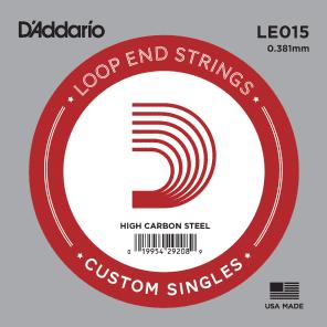 D'Addario LE015 Plain Steel Loop End Single String .015