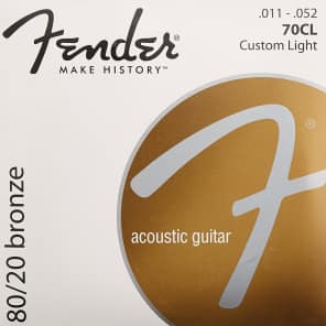 Fender 70CL 80/20 Bronze Acoustic Guitar Strings Set - CUSTOM LIGHT 11-52 for sale