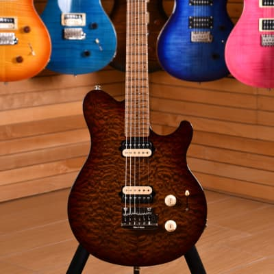 Music Man Axis Super Sport HH Tremolo Roasted Figured Maple Neck & Fretboard Quilted Amber for sale