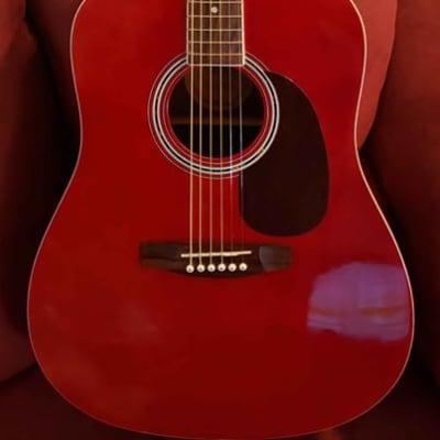 Corbin Woodville  CVG92RD Red Dreadnought Acoustic Guitar for sale