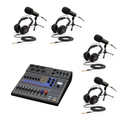 Zoom Podcast Expanded Package w/ L-8, 4 x Mics, 4 x Headphones