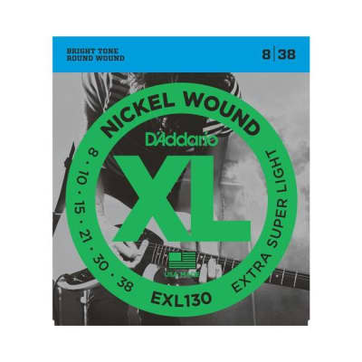 NEW D'Addario EXL130 Nickel Wound Electric Strings - Extra Super Light - .008-.038