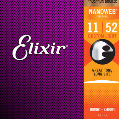 Elixir Custom light Nanoweb Acoustic strings 11-52