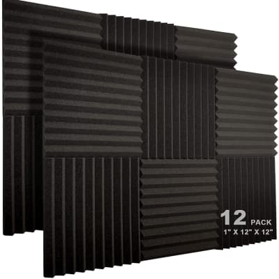 "12 Pack Acoustic Foam Panels 1"" X 12"" X 12"" Studio Soundproofing Wedges Foam"