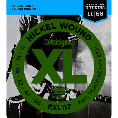 D'Addario EXL117 Nickel Wound Medium Top / Extra Heavy Bottom Set