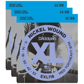 D'Addario EXL116 Electric Medium/Heavy 11-52 (3 Pack Bundle)