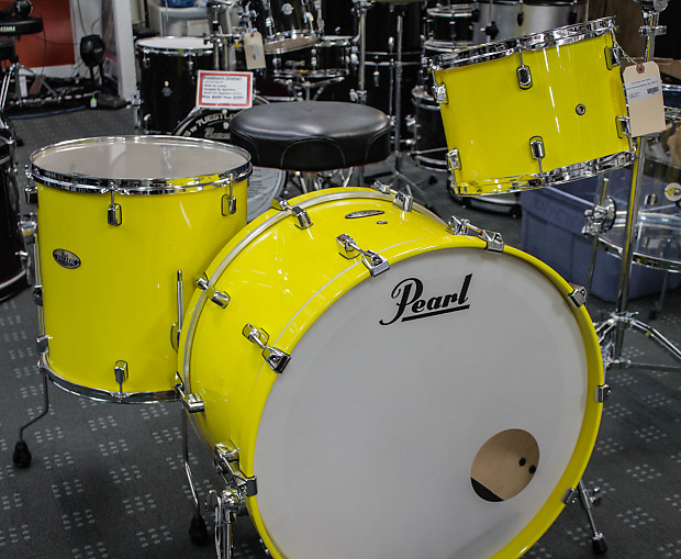Pearl Decade Maple Solid Yellow 3 Piece Drum Set Reverb