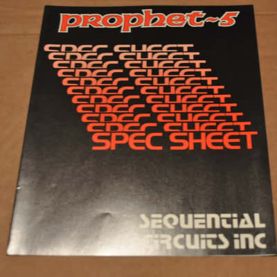 Sequential Circuits  Prophet-5 spec sheet vintage catalog booklet brochure. Rev 2