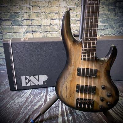 ESP E-II BTL-4 Black Natural Burst 4-String Bass with ESP Form-Fit Hardshell Case for sale