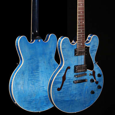 Heritage H-535 Hollowbody Limited Edition Washed Blue w/Hardshell case for sale