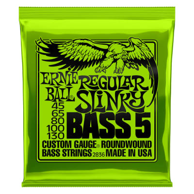 Ernie Ball 2836 Regular Slinky 5-String Nickel Wound Electric Bass Strings 45-130