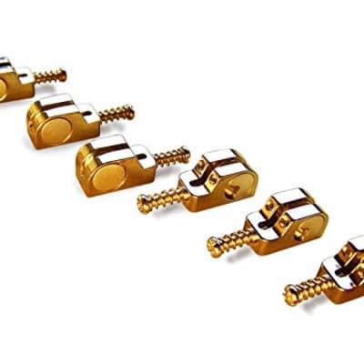 Babicz Full Contact Hardware Strat/Stratocaster Narrow Bridge Saddle Set - GOLD for sale
