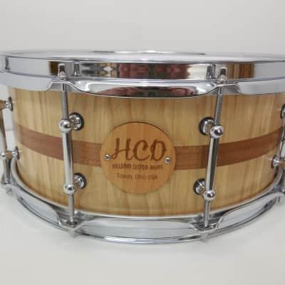 "Holloman Custom Drums 6 x 14"" ash/mahogany snare clear satin"