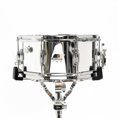 """Ludwig LR751 Rocker 6.5x14"""" Chrome Over Wood Snare 1980s"""