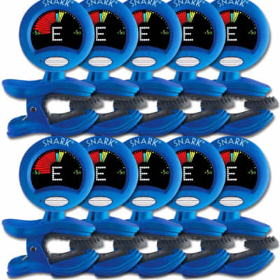 10 Pack Snark SN-1X Acoustic Electric Bass Guitar Clip-On Chromatic Tuner/Metronome Blue